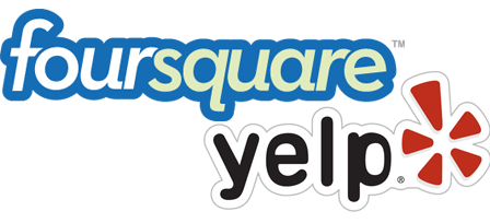MyRestaurantTheme can show your Yelp reviews and Foursquare visitor check-ins